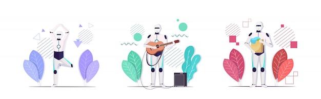 Impostare robot in piedi asana posa tenendo il cesto della biancheria suonare la chitarra concetti di tecnologia di intelligenza artificiale raccolta orizzontale a figura intera