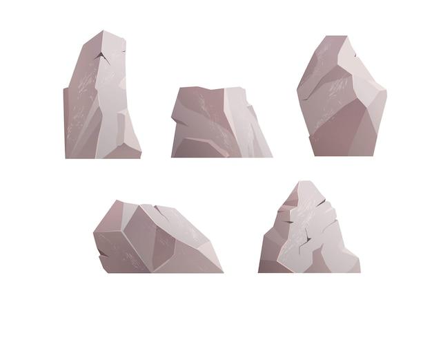 Serie di illustrazioni in pietra di roccia