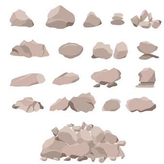 Insieme di roccia di pietre e grandi massi. stile piatto 3d. gli elementi della natura e del paesaggio. concetto di montagna. isolato su sfondo bianco. illustrazione vettoriale.