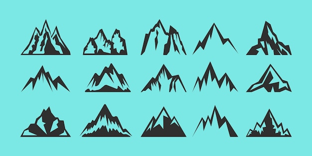Set di logo di sagome di rocce e montagne.