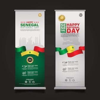 Impostare banner roll up modello senegal felice festa della repubblica con elegante bandiera a forma di nastro