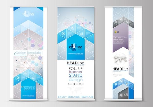 Set di roll up banner stand, modelli di design piatto, stile geometrico astratto