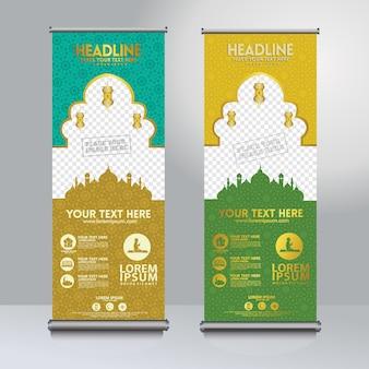 Impostare roll up design modello banner con trama modello moschea