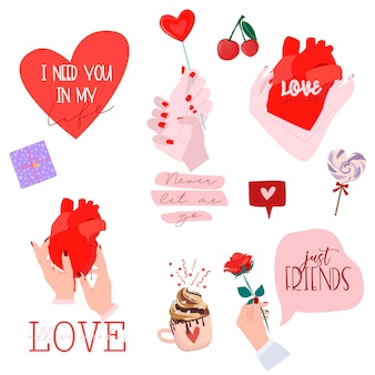 Set di stampe romantiche per san valentino con graziosi elementi adorabili e tipografia.