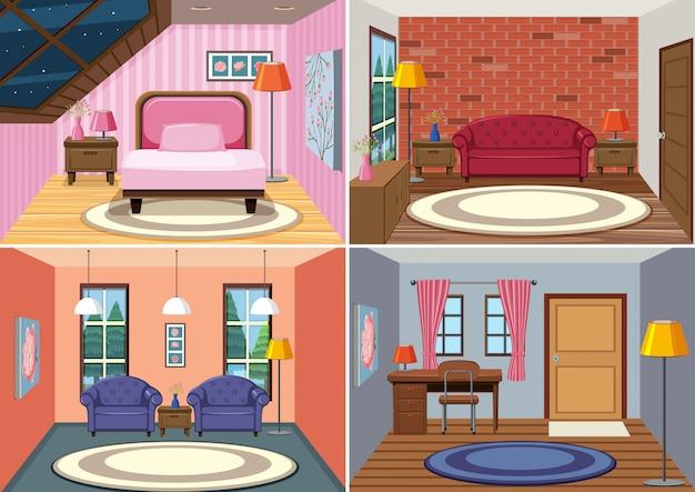 Un set di sfondo interno camera