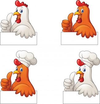 Insieme del fumetto dei galli che dà pollice su con il segno in bianco