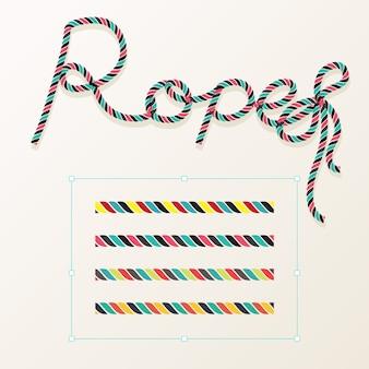 Set di vettore di corda con design tipografia