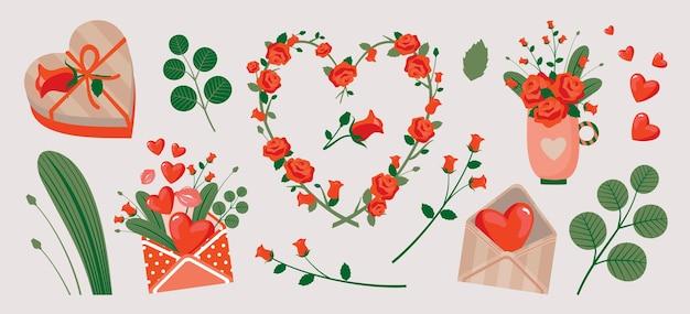 Set di rose, regali, amore con elementi romantici.