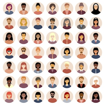 Set di icone piatte rotonde con persone. nazionalità diverse.