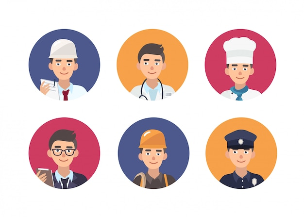Serie di ritratti rotondi di persone felici di varie professioni.