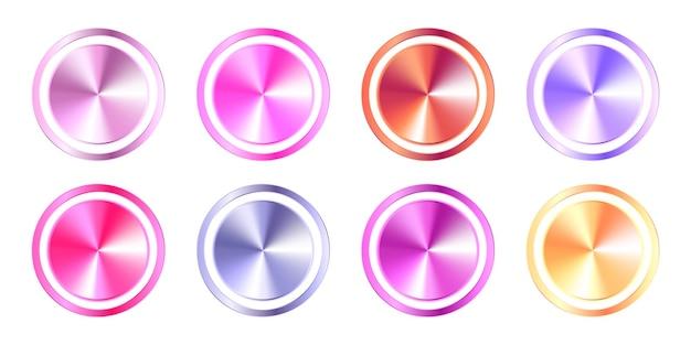 Set di pulsanti arrotondati con sfumatura metallica