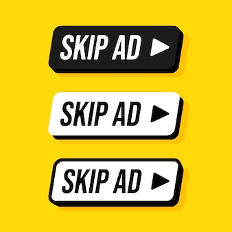 Set di rettangolo arrotondato pulsante salta annuncio. illustrazioni. interrompi la pubblicità. bottoni nei colori bianco e nero con scritte su sfondo giallo.