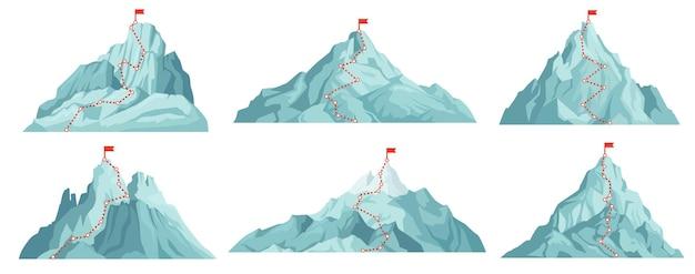 Insieme di percorsi alla vetta della montagna. arrampicata sulle montagne con bandiera rossa in cima