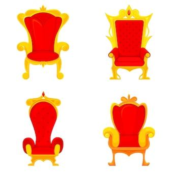 Set di troni reali in stile cartone animato. sedie king rosse e oro. Vettore Premium