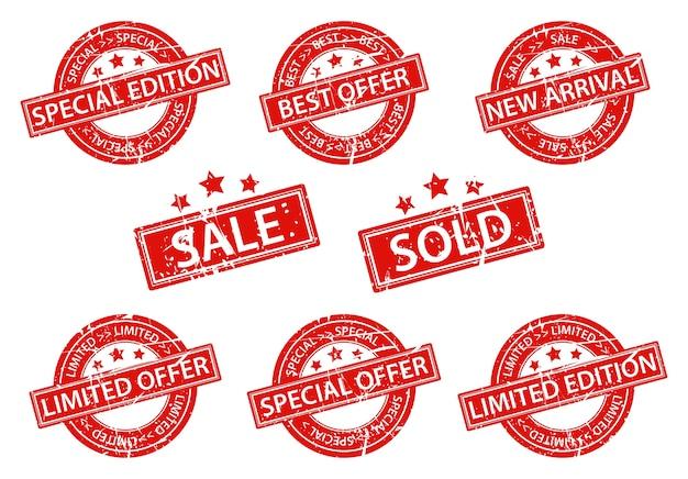 Set di vendita di timbri in gomma