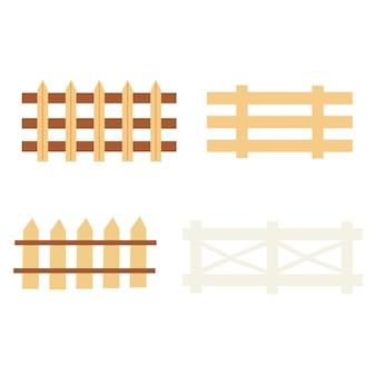 Set di recinzioni rustiche. arredamento casalingo. clipart di tiraggio della mano di vettore