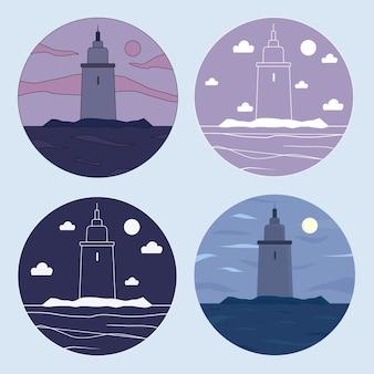 Set di s. vista sul mare con un faro in un cerchio. per logo e pubblicità.