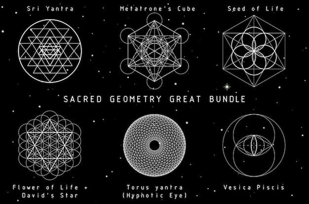 Set di elementi vettoriali di disegno di geometria sacra