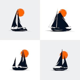 Set di design del logo della nave a vela