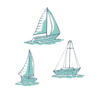 Impostare yacht a vela sulle onde del mare. trasporto su acqua per viaggi, attività ricreative e sport. raccolta di illustrazioni di schizzo di linea