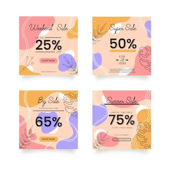 Set di modelli di sfondo di vendita per storie di instagram