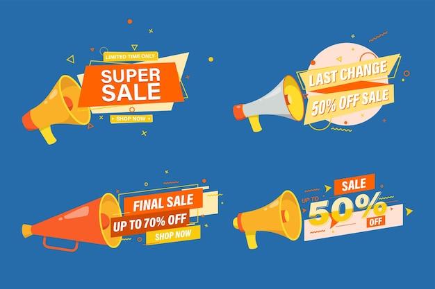 Set di banner di vendita o design modello promozionale per il web online.