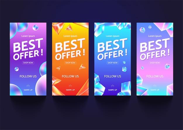Set di banner di vendita per storie di social media, pagina web e altri pormotion per dispositivi mobili.