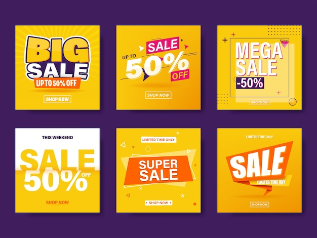 Set di vendita banner modello di progettazione.