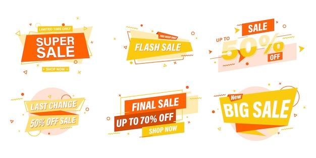 Set di banner di vendita modello web design.