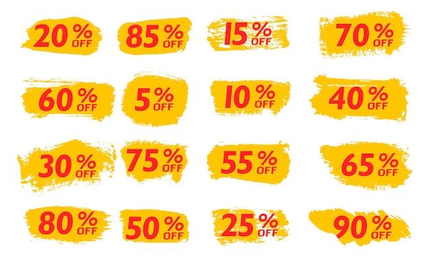 Imposta la vendita fuori dai tag dell'offerta speciale del pennello nuovo anno venerdì nero cyber lunedì prezzo sconto vettore