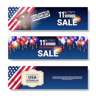 Serie di poster di vendita con il messaggio di sconti di giorno dei veterani su priorità bassa bianca promozioni di festa