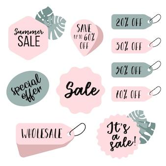 Set di tag ed emblemi di vendita. set di etichette di vendita estive