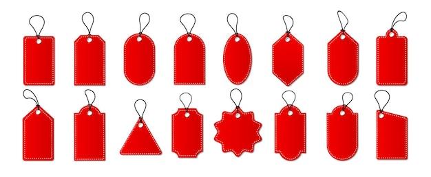Set di tag ed etichette di vendita, etichette per lo shopping modello con linea tratteggiata. cartellini in bianco, sconto e prezzo su carta. offerta speciale. vintage ▾. illustrazione vettoriale eps 10