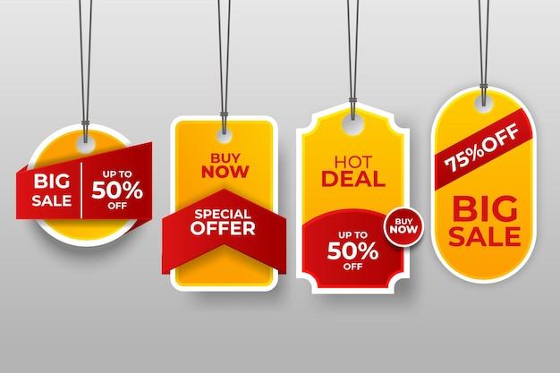 Set di tag ed etichette di vendita, etichette per lo shopping modello.