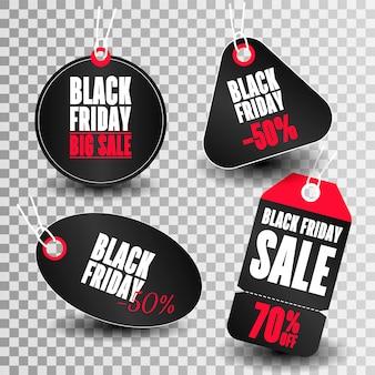 Set di tag di vendita con testo black friday