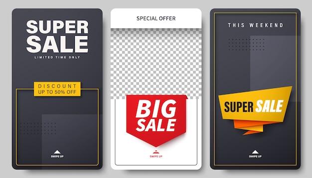 Set di modello di vendita per storie di social network.