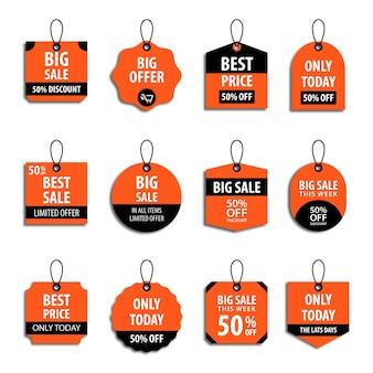 Set di raccolta di etichette di vendita per cartellino del prezzo o etichetta di sconto