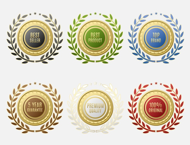 Set di etichette di vendita con forma rotonda e disposizione circolare delle foglie