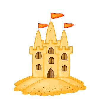 Set di castelli di sabbia di diverse forme. collezione di cartoni animati estivi nel vettore.