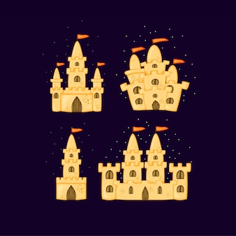 Insieme di castelli di sabbia di diverse forme. collezione di cartoni animati estivi in.