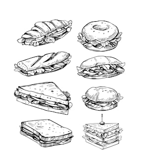 Set di panini illustrazione vettoriale in stile schizzo fast food
