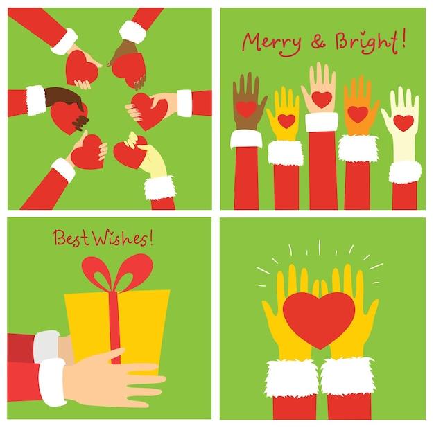 Set di mani di babbo natale che tengono cuore rosso e mani di bambini su sfondo verde