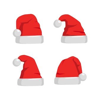 Set di cappello di babbo natale. berretto rosso per la celebrazione del natale