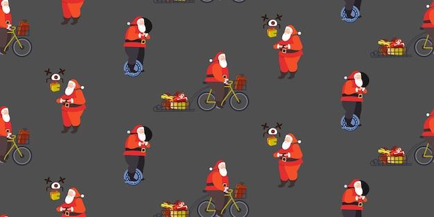 Impostare babbo natale in sella a una ruota mono ciclismo e controllo drone buon natale vacanze invernali celebrazione concetto seamless pattern orizzontale a tutta lunghezza