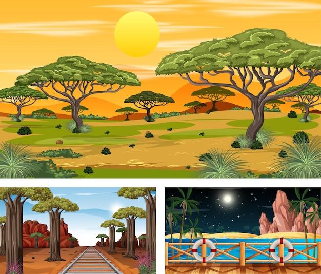 Set di foreste di savana in scene orizzontali di tempi diversi