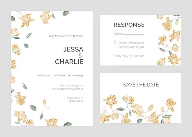 Set di save the date card o modelli di invito a nozze con bellissimi rami di albero di magnolia e fiori che sbocciano su sfondo bianco.