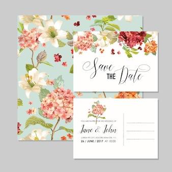 Set di biglietti save the date con fiori di ortensia vintage autunnali per matrimonio, invito, festa in