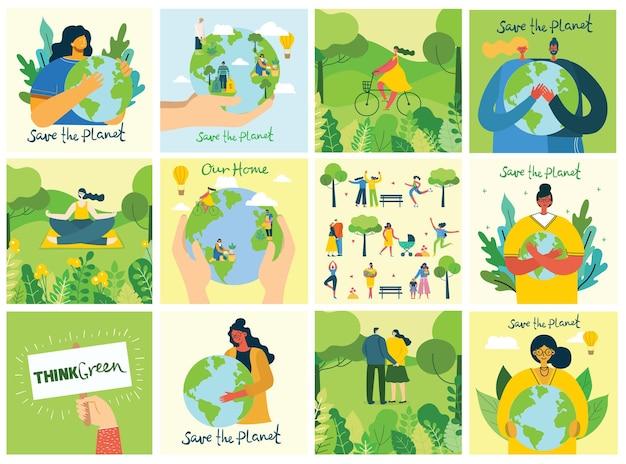 Serie di illustrazioni per salvare l'ambiente. zero sprechi, pensa verde, salva il pianeta