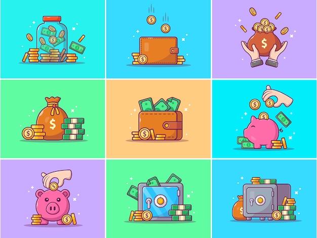 Una serie di illustrazione di risparmio di denaro.