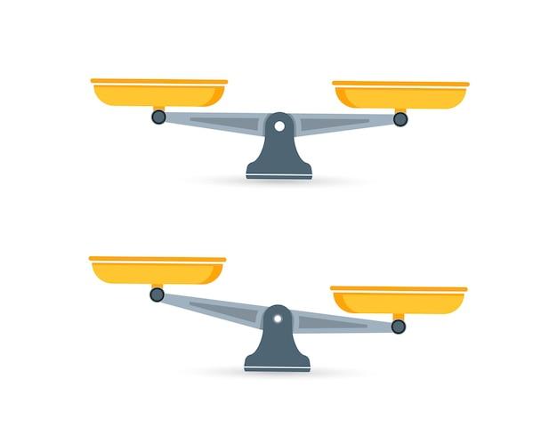 Set di scale. ciotole di bilancia in equilibrio, uno squilibrio di bilancia. bilancia, illustrazione vettoriale